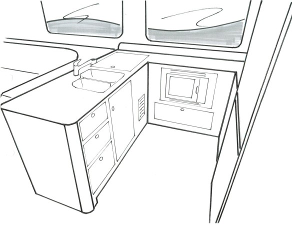 Larger galley with dual refrigeration and chest freezer