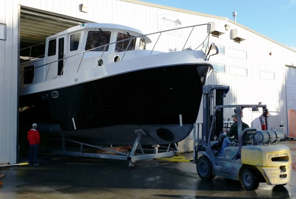 The new American Tug 485 rolling out of the shop for the first time.
